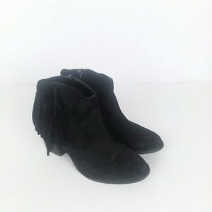 Marc Fisher leather fringe ankle bootie